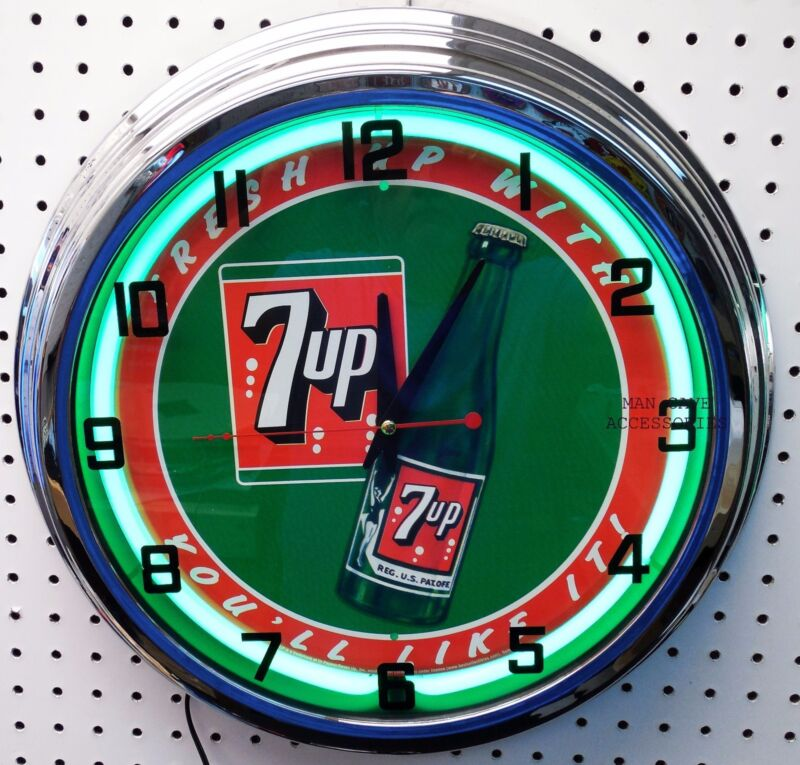 "17"" 7up Sign Neon Clock Fresh up with 7 UP you"