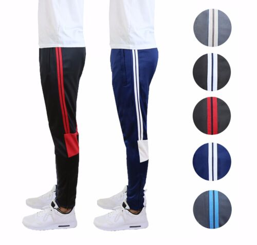 Mens Jogger Track Pants With Contrast Stripes Slim Fit Gym Sports Workout 2-pack