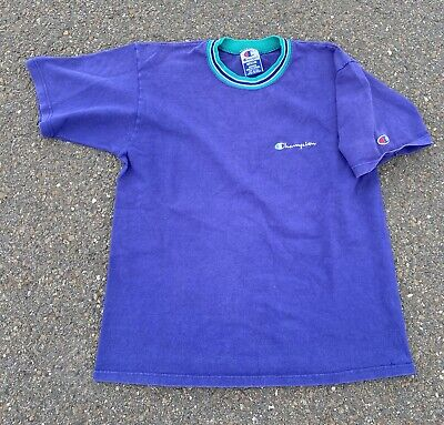 Vintage 90's Champion Spell Out T-shirt Size Medium Made In USA Light Blue
