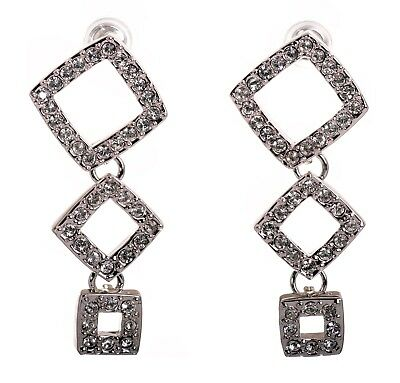 Swarovski Element Crystal Triple Squares Earrings Rhodium Plated Authentic -