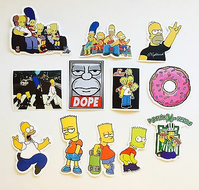 Bart Simpson Homer Lisa Marge Skateboard Laptop Luggage Decal Stickers Set Of 12