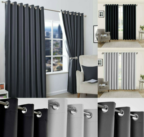 curtains - Blackout Eyelet Curtains Black Out Thermal Ring Top Ready Made Curtain Pair UK