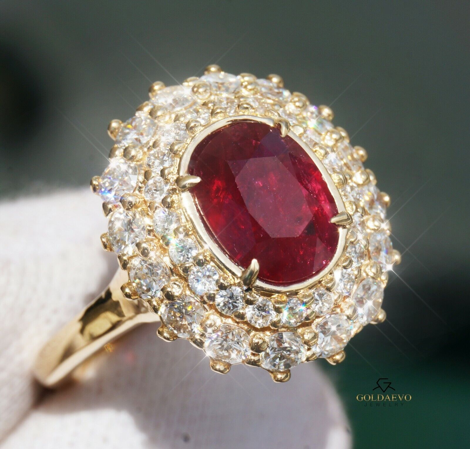 Ruby Diamond Gold Ring 14K Natural GIA Certified NO HEAT 3.48CTW RETAIL $11,600