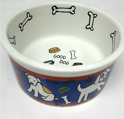 "Vintage Riviera Van Beers Signature Stoneware 6"" Good Dog Food Dish Water Bowl"