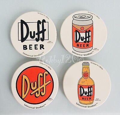 Bnib Universal Studios Hollywood Simpsons Ceramic Duff Beer Coasters Set Of 4