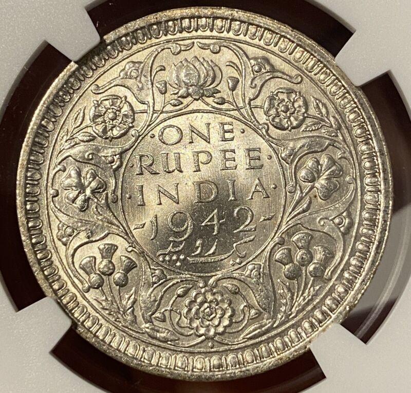 1942B India British One Rupee. NGC MS63. Gem Lustrous