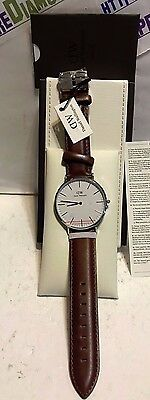 Daniel Wellington Men's 40mm CLASSIC ST MAVES Leather Watch DW00100021 NEW