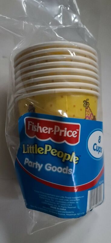 Fisher Price Little People Paper Cups Party Goods - 8 Cups birthday NEW SEALED