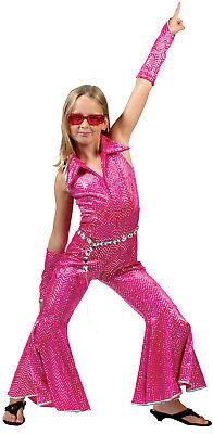 Disco Boogie Anzug pink für Kinder NEU - Mädchen Karneval Fasching Verkleidung - Boogie Mädchen Kostüm