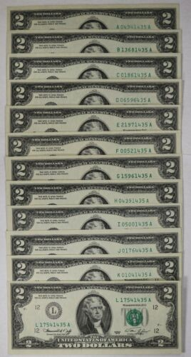 1976 FEDEARL RESERVE NOTE $2 DISTRICT SET - CU CHOICE UNCIRCULATED 12 NOTES(435A