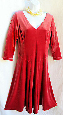 Flared Sleeve Velvet Dress (COLDWATER CREEK Red Velvet Dress Sz XS 4 Flared Mid-Calf Glam 3/4 Sleeve Festive )