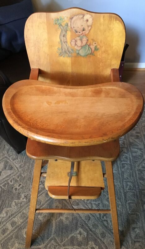 Vintage Thayer Wooden Baby High Chair All Original Removable Tray