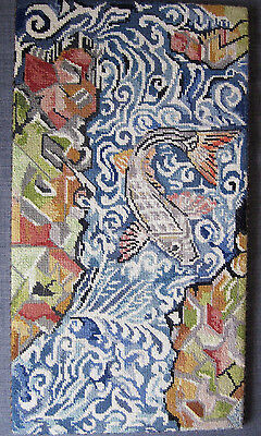 Vintage Needlepoint Tapestry Panel Picture Japanese style fish Koi Carp river