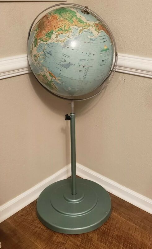 """A.J. Nystrom & Co 16"""" Sculptural Relief World Globe Iron Floor Stand Vintage"""