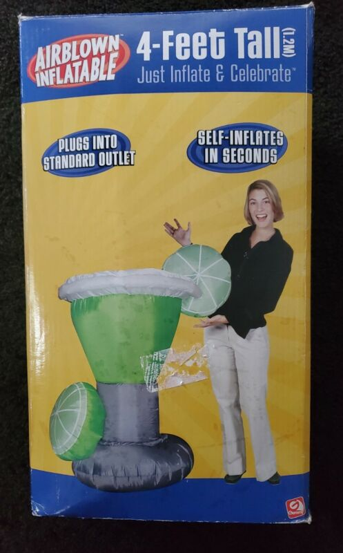 Rare Gemmy Airblown / Inflatable 4 ft Tall Margarita, Pool, Party Etc.. READ!
