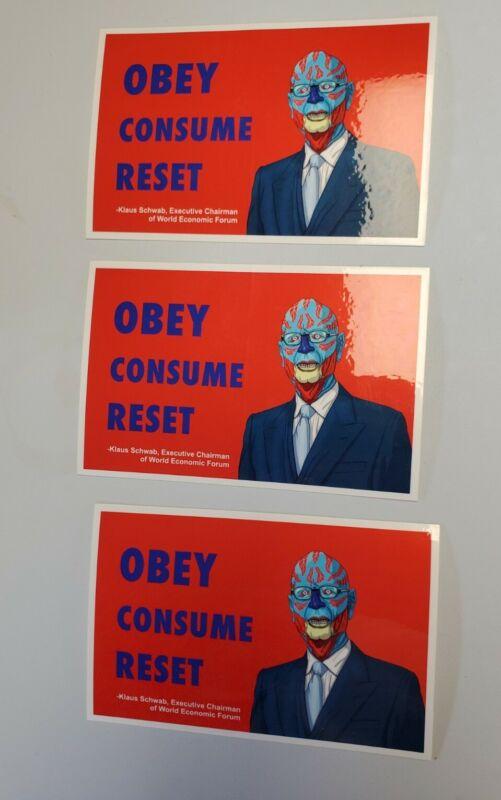 Klaus Schwab 2020 Great Reset Stickers Lot 3 Pack THEY LIVE MOVIE 🎥 PARODY