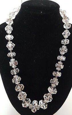 1930s Art Deco Style Jewelry Antique 1930s Art Deco Czech Old Rondell Cut Faceted Rock Crystal Bead Necklace  $73.50 AT vintagedancer.com