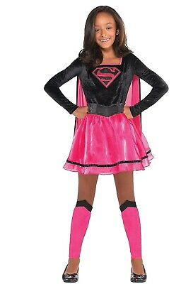 Girls Pink Supergirl Dress Costume - Superman Medium 8-10](Superman Girl Costumes)