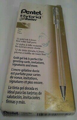 NEW Pentel 12-PACK Hybrid Gel Roller Ball Pen GOLD Waterproof Ink Fine .3mm ()