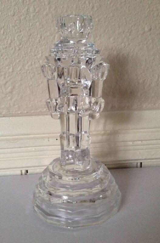 "Nutcracker Christmas Taper Crystal Glass Candle Holder  8"" Tall Princess House"