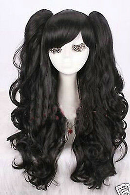 Gothic lolita black full wig curly wave long cosplay wig with ponytails - Gothic Wigs