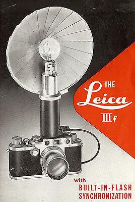LEICA IIIF CAMERA w/ FLASH SYNCHRONIZATION BROCHURE -LEICA-FROM 1950
