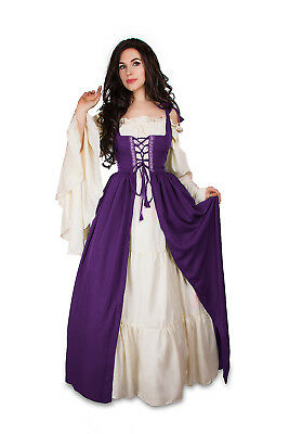 Renaissance Medieval Irish Costume Plum Over Dress ONLY Fitted Bodice l/xl - Renaissance Medieval Dresses
