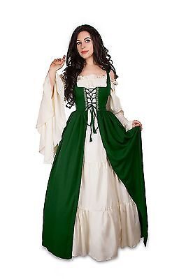IDD Renaissance Medieval Irish Costume Over Dress & Cream Chemise Set