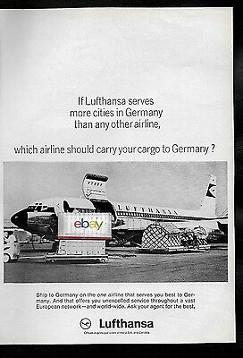 LUFTHANSA GERMAN AIRLINES 1967 BOEING 707 FREIGHTER SHIP TO GERMANY AD