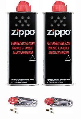 Zippo 2x Benzin 125ml + 2x Feuersteine Verbrauchsmaterial für Benzinfeuerzeug