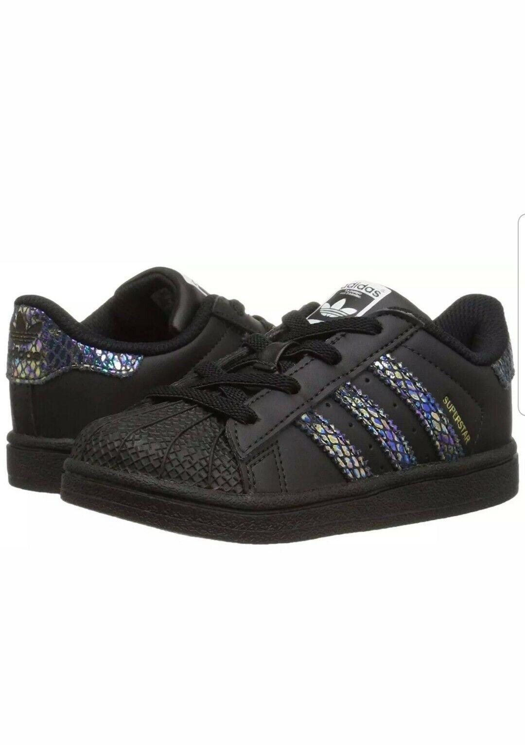 adidas Originals Baby Superstar EL I Black Rainbow Snake Size 4 M US Toddler