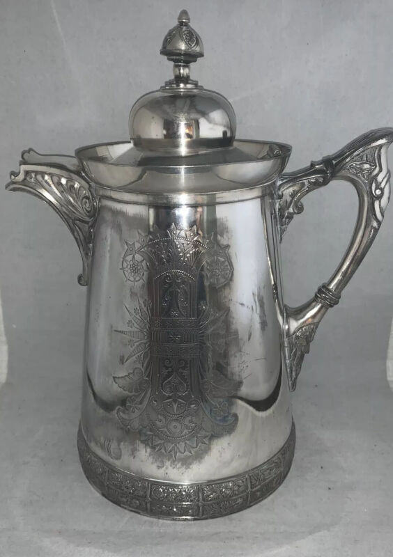 Antique Meriden B Company Victorian Silver Plate LINED Ice/Water Pitcher #187