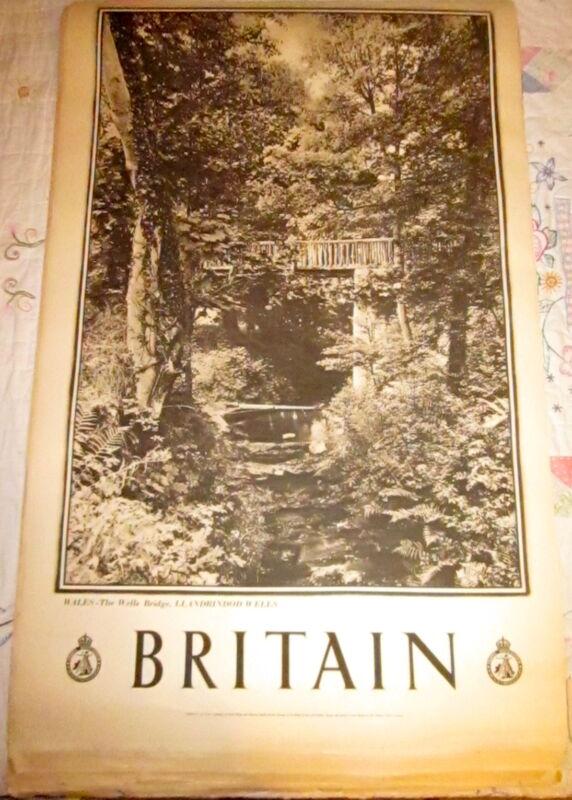 1930s Great Britain Travel Assn Poster WALES, Wells Bridge, Llandrindod Wells