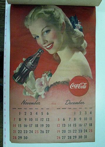 ORIGINAL VINTAGE 1948 COCA COLA LARGE PAGE CALENDAR FEATURING PIN-UP GIRLS