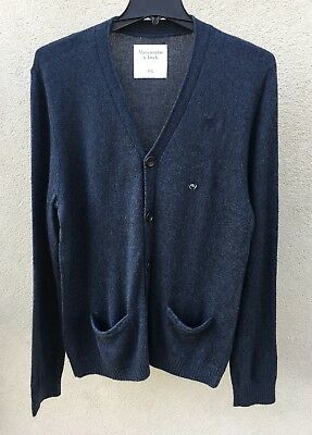 ABERCROMBIE & FITCH MEN SWEATER cardigan Size LARGE blue navy NEW authentic