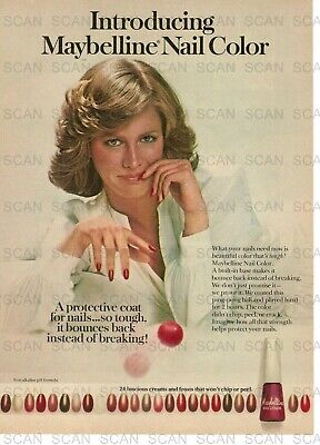 1977 Maybelline Nail Color Nail Polish Vintage Magazine Ad Pretty Girl