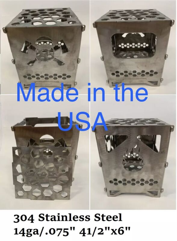 Stainless Steel Portable Camping Twig Stove (FIRE BOX) Made Is USA