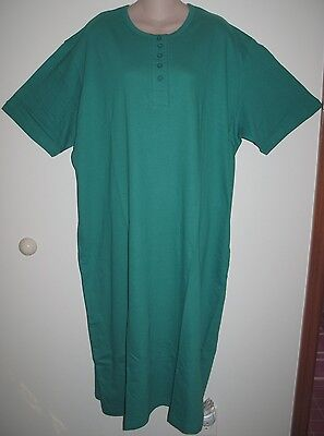 HUNTER GREEN  HENLEY LONG COTTON NIGHTSHIRT O/S FITS 1X-3X ()