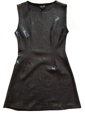 IRIÉ France Sz S Sleeveless Stretch Sheath Dress Black Shimmery Wet-Look