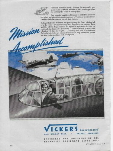 1943 Vickers Hydraulic Controls Combat Planes WW II Original Vintage Print Ad