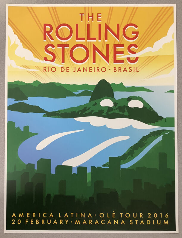 Rolling Stones Concert Poster Brazil Water America Latina Ole Tour Mick Jagger 2