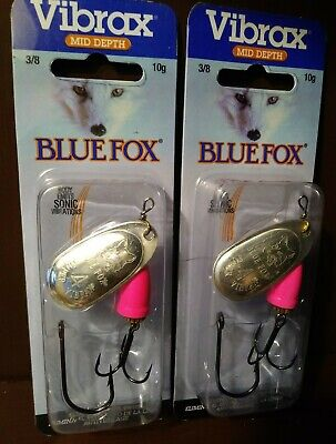 (2) Blue Fox Flo-Pink Vibrax Painted Series #4 Inline Spinners Lures 3/8 oz Lot