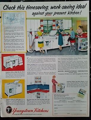 1952 Youngstown kitchens by Mullins white All Steel cabinets vintage design ad