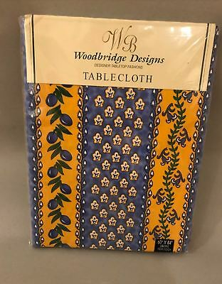 NEW Oblong French Provence Cotton Tablecloth Streaked yellow blue olives flowers