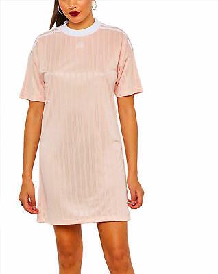 adidas Originals Women's Sports T-Shirt Dress Trefoil Blush Pink Jersey Short