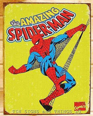 Amazing Spider-man Retro Spiderman Tin Sign Vtg Metal Poster Marvel Decor 1437