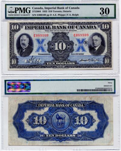 1933 Imperial Bank of Canada $10.00 Ten Dollar Note PMG Very Fine 30