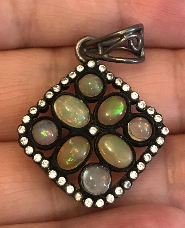 vintage opal diamond pendant