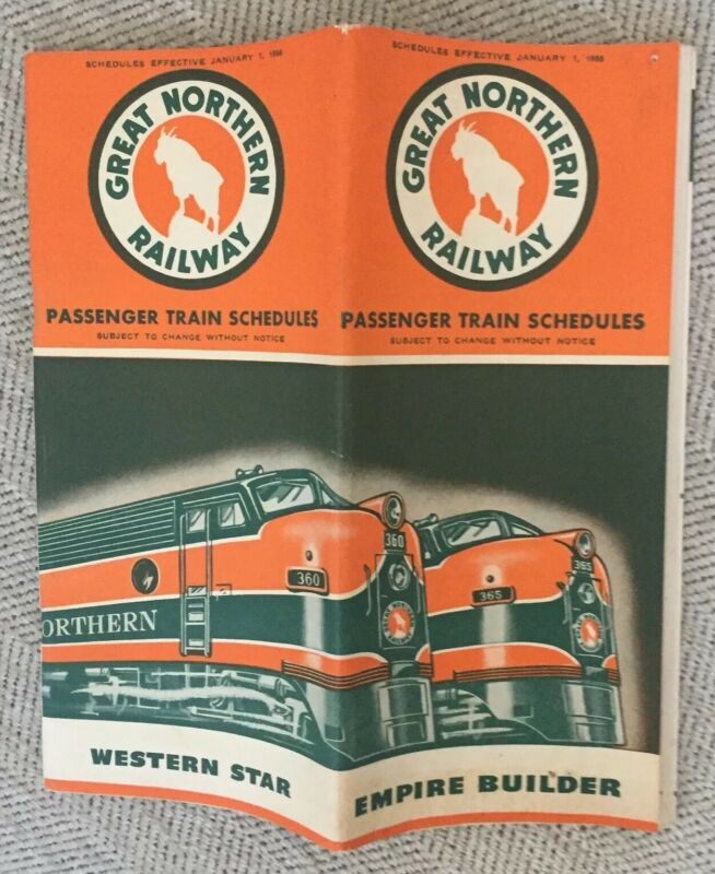 Great Northern Railway 1/1/55 Public Timetable