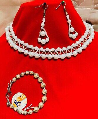 Handmade Women's Bead Fashion Jewelry Pearl Necklace, Bracelet , Earrings Set.
